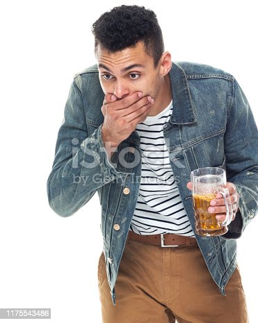 istock One person / full length / front view / waist up of 20-29 years old adult handsome people / tall person african ethnicity / african-american ethnicity male / young men standing in front of white background wearing denim jacket / cool attitude 1175543486