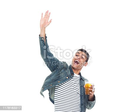 istock One person / full length / front view / waist up of 20-29 years old adult handsome people / tall person african ethnicity / african-american ethnicity male / young men standing in front of white background wearing denim jacket who is drunk / drinking 1178183317