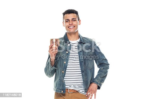 istock One person / full length / front view / waist up of 20-29 years old adult handsome people / tall person african ethnicity / african-american ethnicity male / young men standing in front of white background wearing denim jacket / cool attitude 1182148018