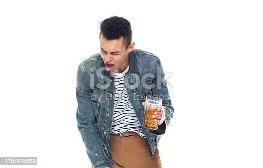 istock One person / full length / front view / waist up of 20-29 years old adult handsome people / tall person african ethnicity / african-american ethnicity male / young men standing wearing denim jacket who is illness / drinking / drunk / cool attitude 1187415893