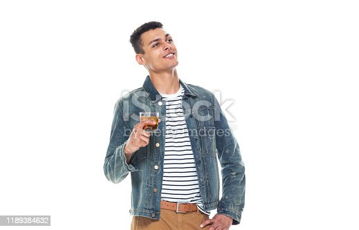 istock One person / full length / front view / waist up of 20-29 years old adult handsome people / tall person african ethnicity / african-american ethnicity male / young men standing wearing denim jacket who is smiling / happy / cheerful / cool attitude 1189384632