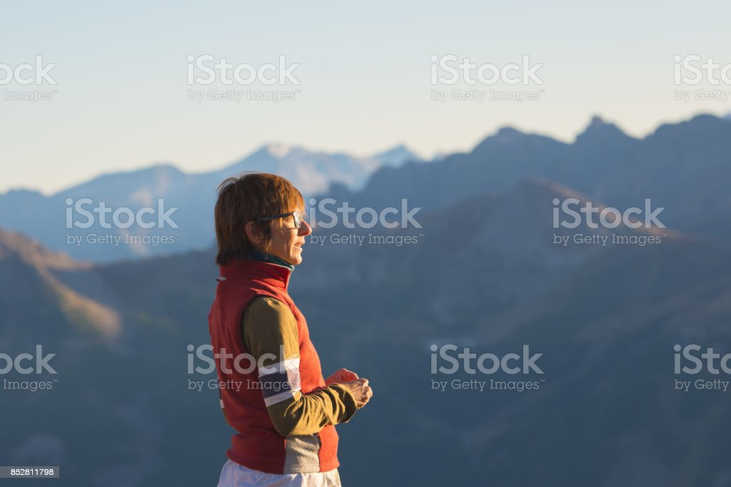 One person looking at the majestic view of glowing mountain peaks at sunset high up on the Alps. Rear view, toned and filtered image, focus in the background. stock photo