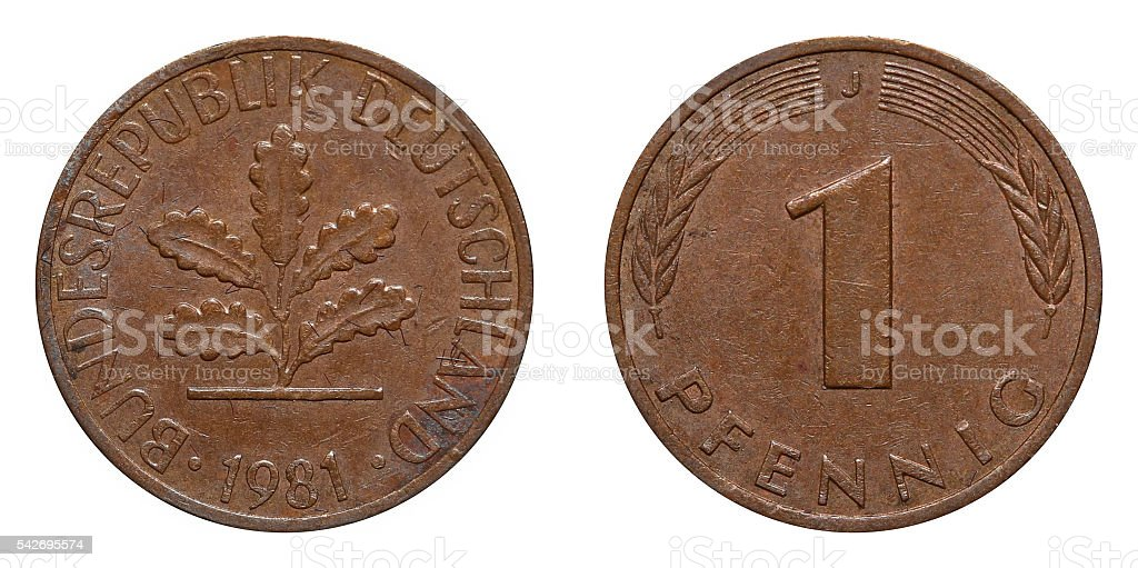 One Pfennig coin formerly used in Germany stock photo
