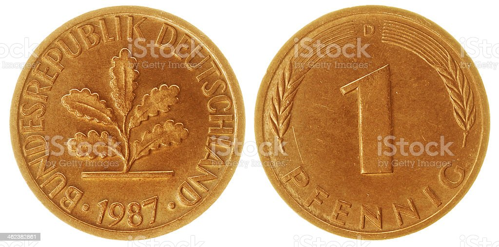 One Pfennig Coin Isolated stock photo