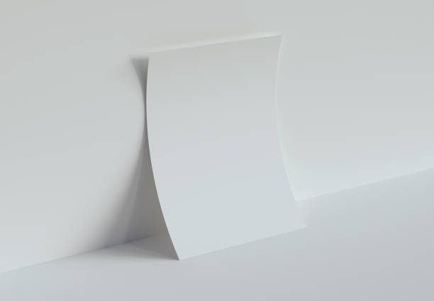 One Piece of Paper Mockup. 3d rendering. stock photo