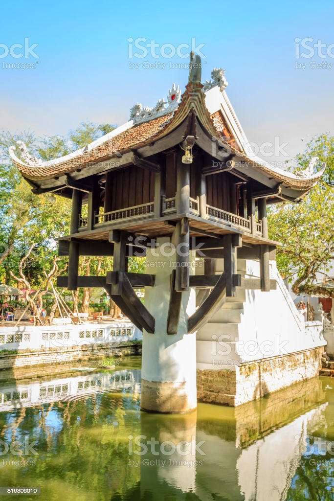 One Pilar Pagoda at Hanoi stock photo