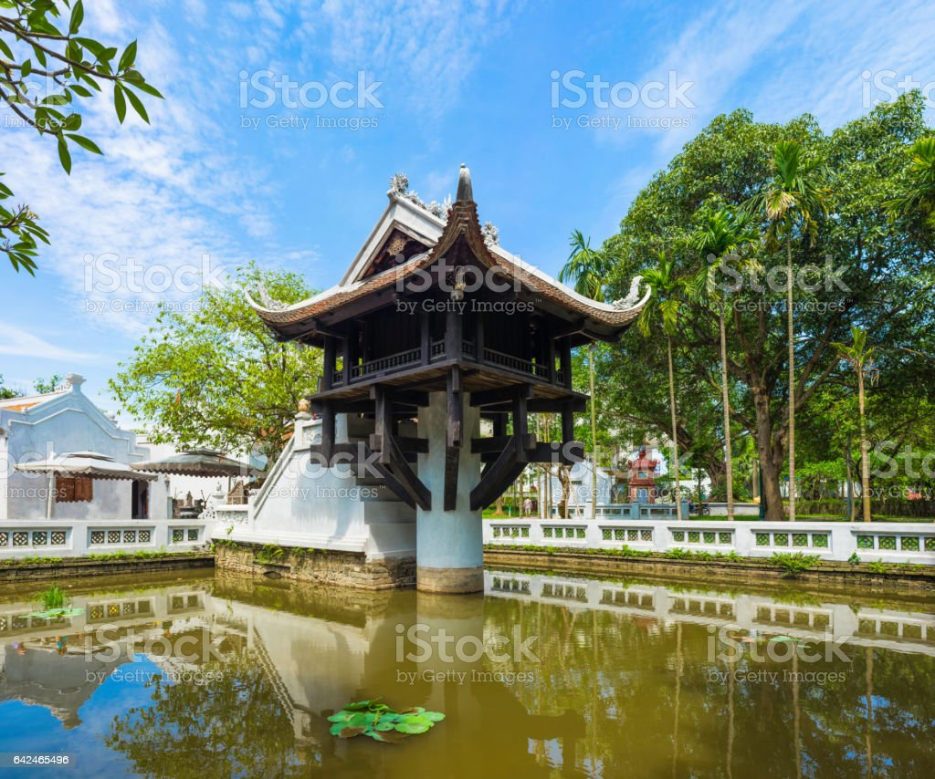 One Pillar pagoda in Hanoi, Vietnam. One of beauty-spots in Hanoi, the One-Pillar Pagoda (one of Vietnam's two most iconic pagodas, side by side the Perfume Pagoda) is a popular tourist attraction stock photo