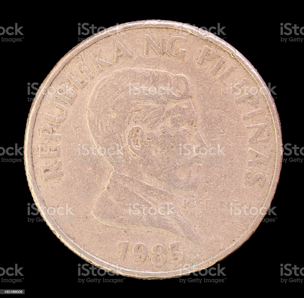 One piso coin, issued by Philippines depicting hero Jose Rizal stock photo