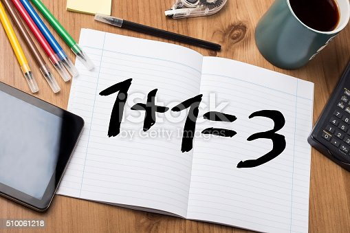 532357605istockphoto One plus one equal three - plus one free 510061218
