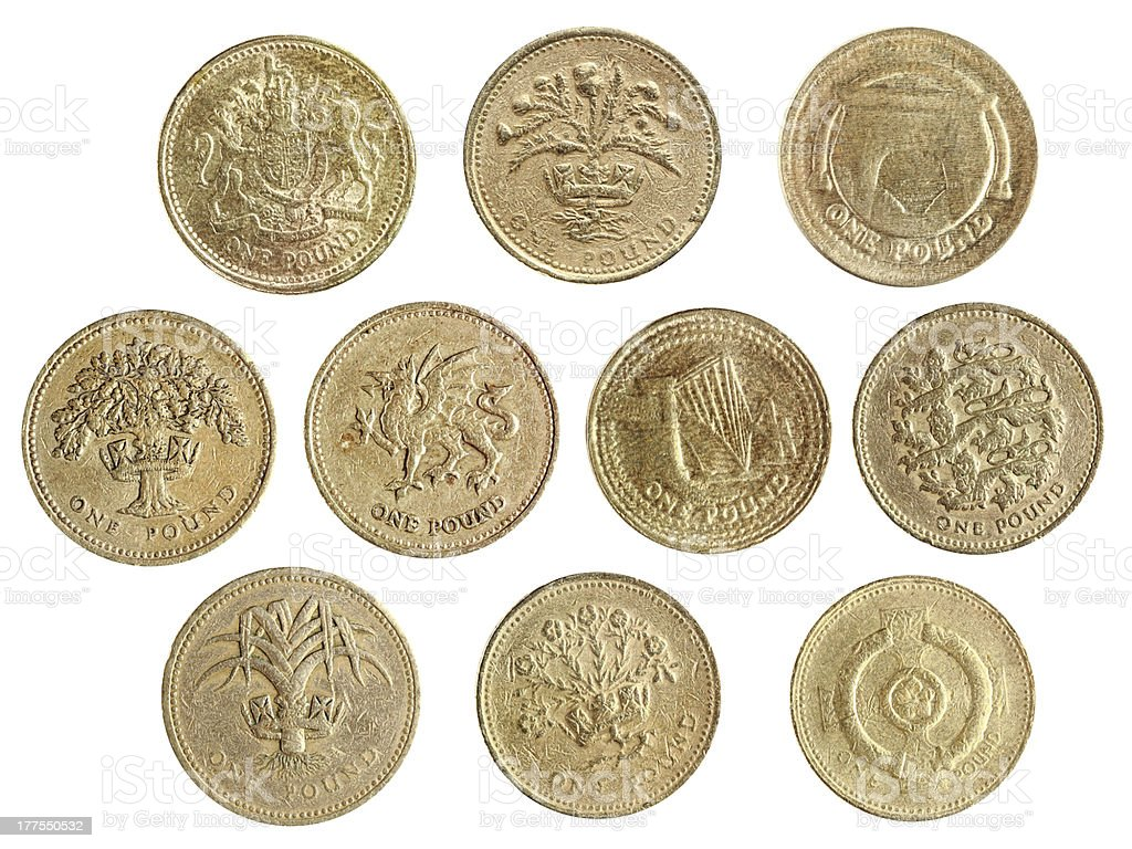 one pound coin collection stock photo