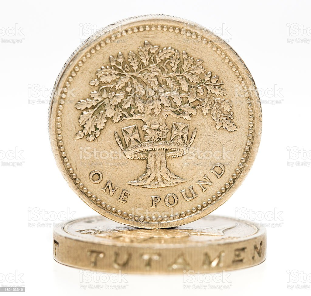One pound coins. British currency. royalty-free stock photo