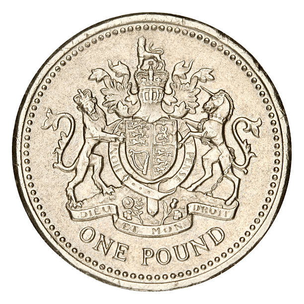 One Pound on white background British One Pound Coin. Isolated on white with clipping path. one pound coin stock pictures, royalty-free photos & images