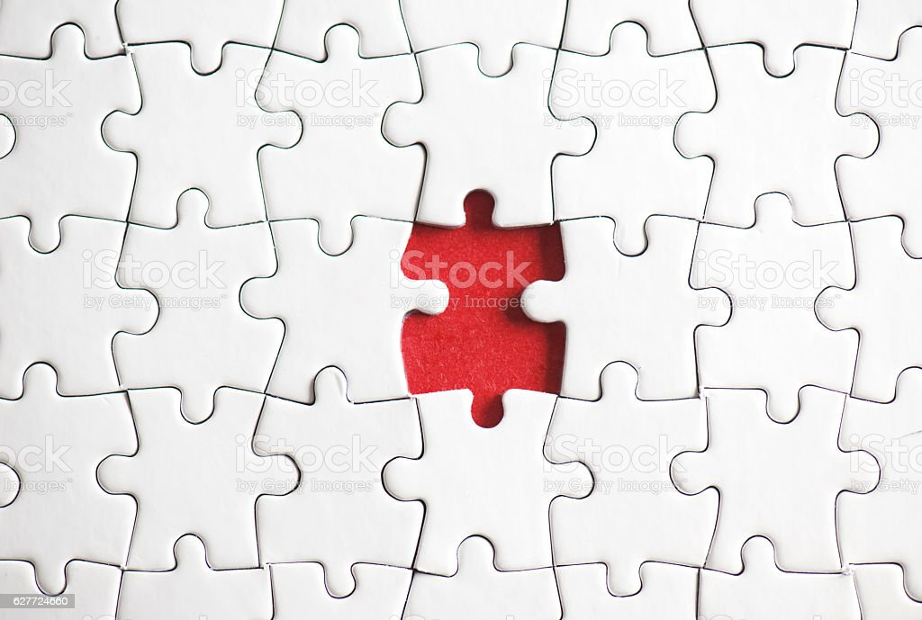 One Puzzle Piece Missing stock photo