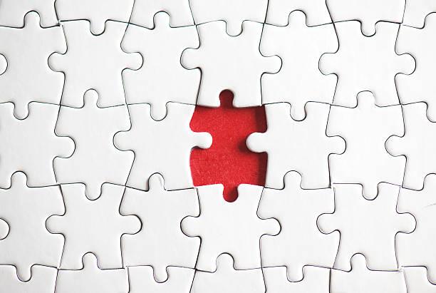 one puzzle piece missing - puzzleteile stock-fotos und bilder