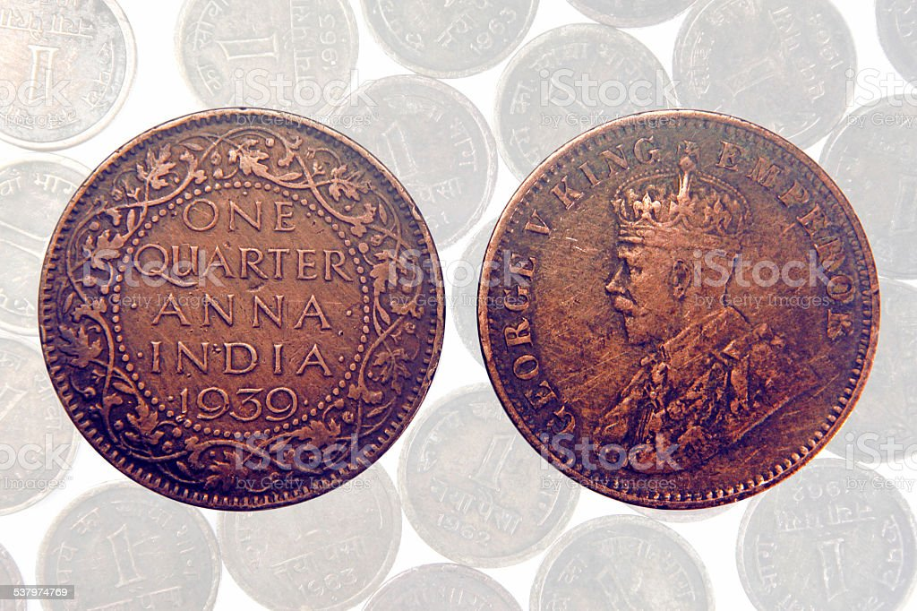 Foto de One Quarter Anna De 1939 George V King Moeda Indiana