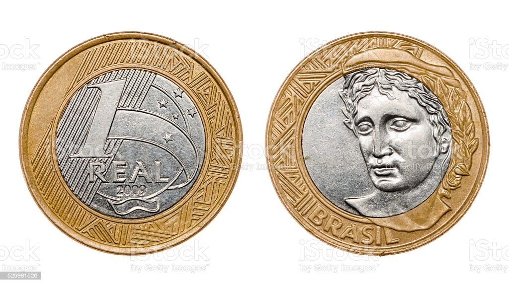 One real coin front and back faces stock photo