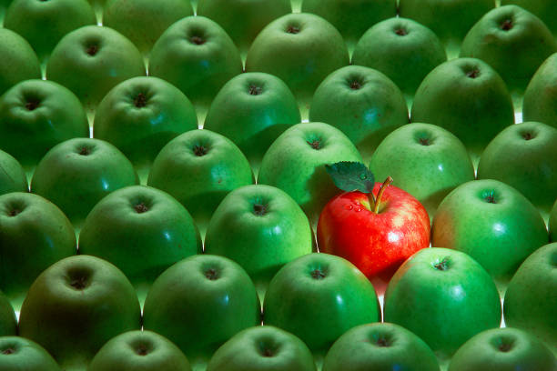 one red apple among many green apples stock photo