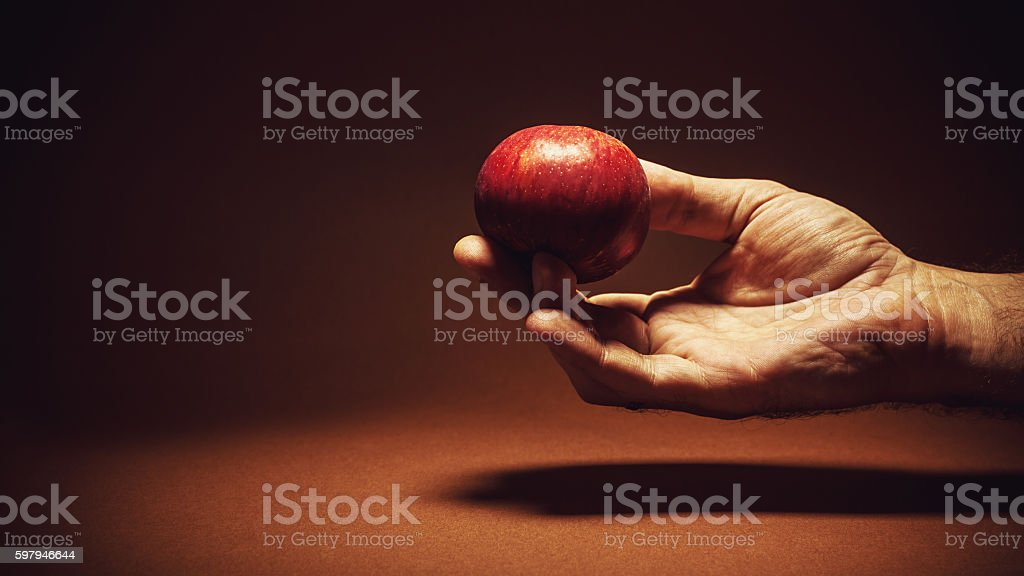 One Red Apple in a Hand foto royalty-free