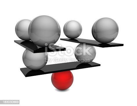 istock One red ball balancing black boards and many silver balls 183030869