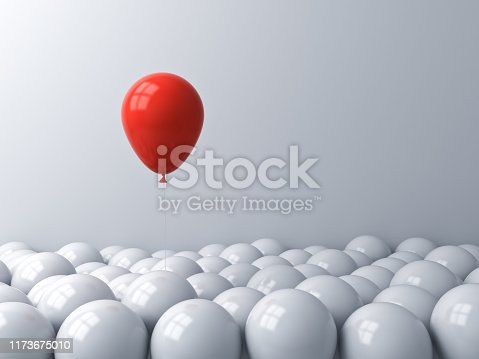 One red balloon pop out from the white balloons Stand out from the crowd different concept or think outside the box creative idea concept 3D rendering