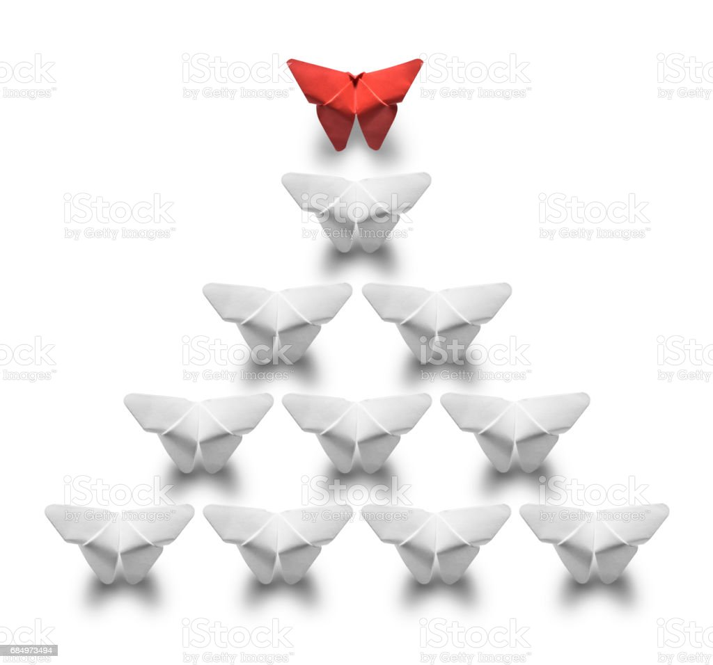 One red butterfly leads cloned white butterflies on white background stock photo
