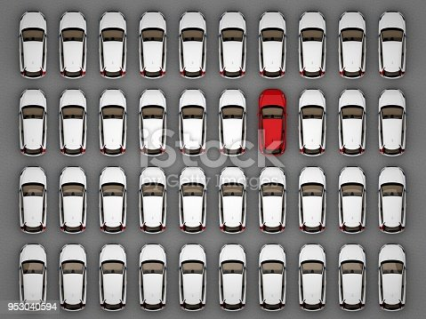 istock one red car among lots of white cars 953040594