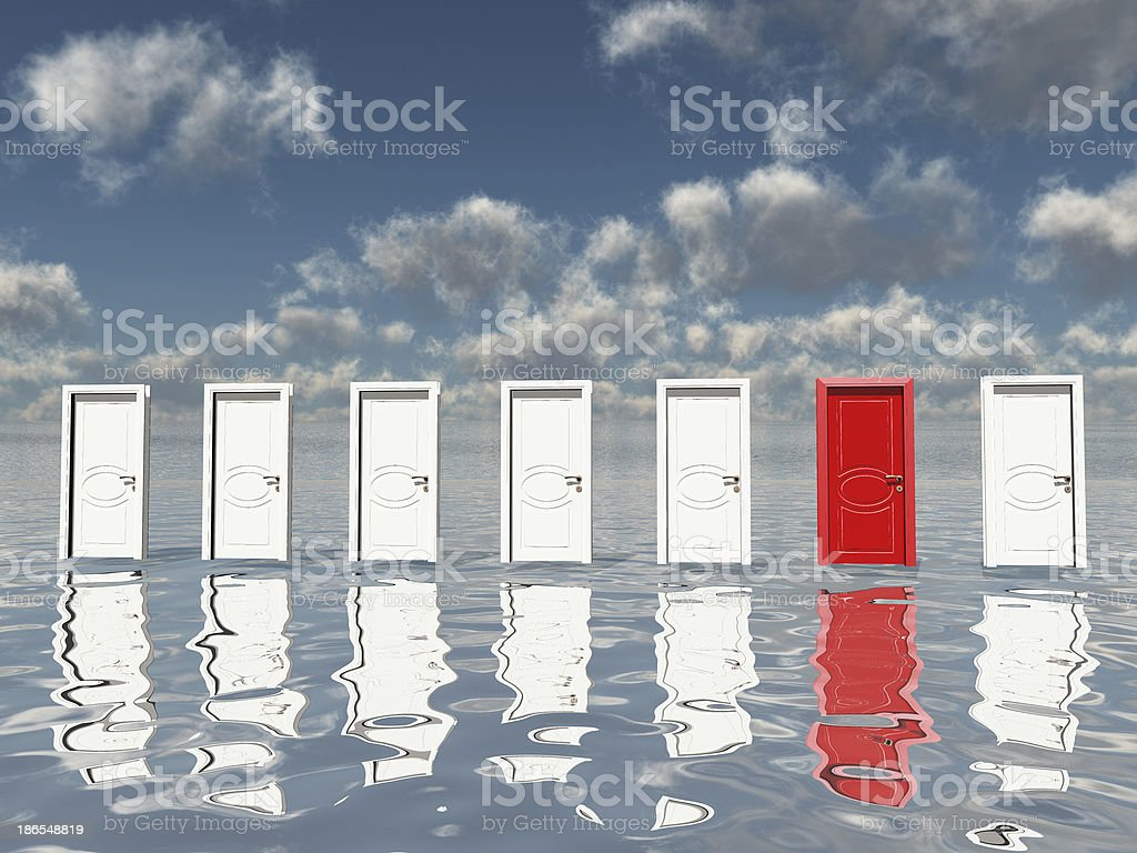 One Red Door stock photo