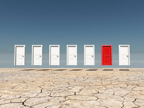 one red door - choosing stock photos and pictures