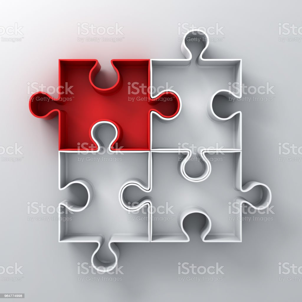 One Red jigsaw puzzle piece stand out from the crowd different concept on white wall background with shadow 3D rendering royalty-free stock photo