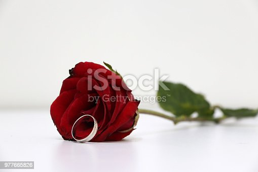 867916232 istock photo One ring and red color of rose with green leaf on the white floor. 977665826
