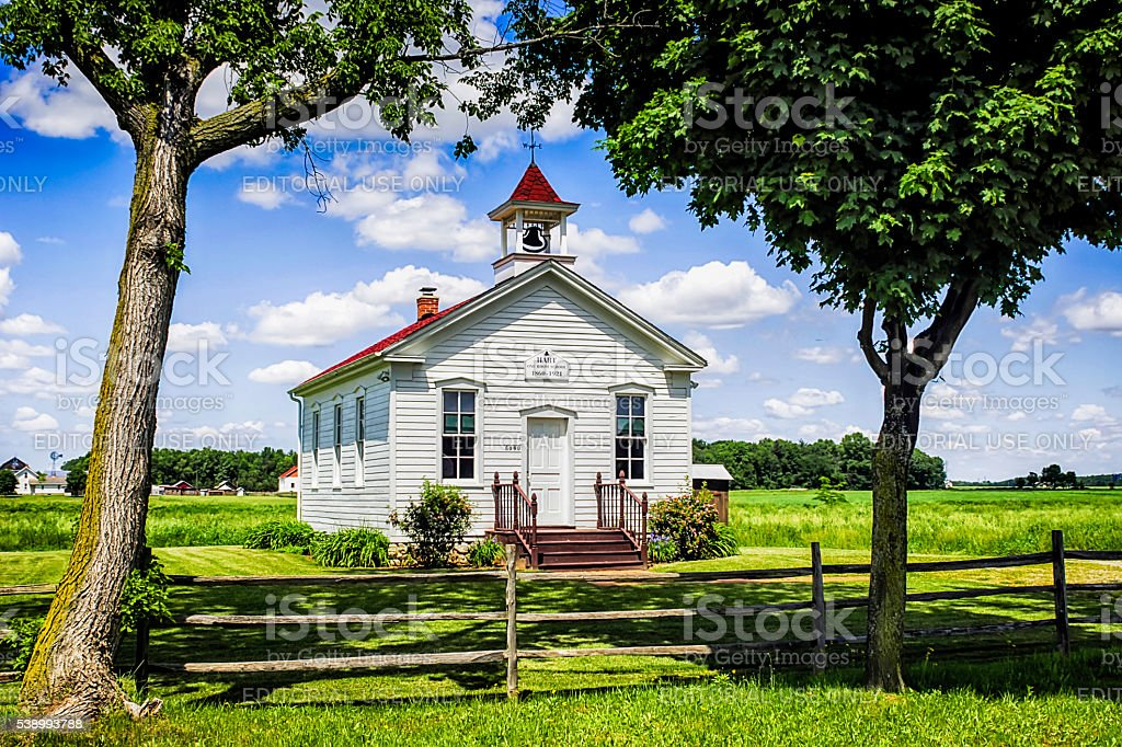One room School house at Hart near Frankenmuth in Michigan stock photo