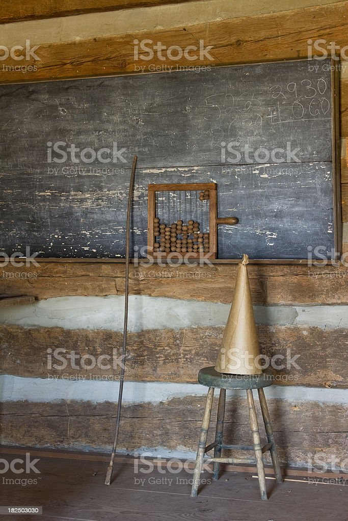One Room School House, With Dunce Cap and Abacus stock photo