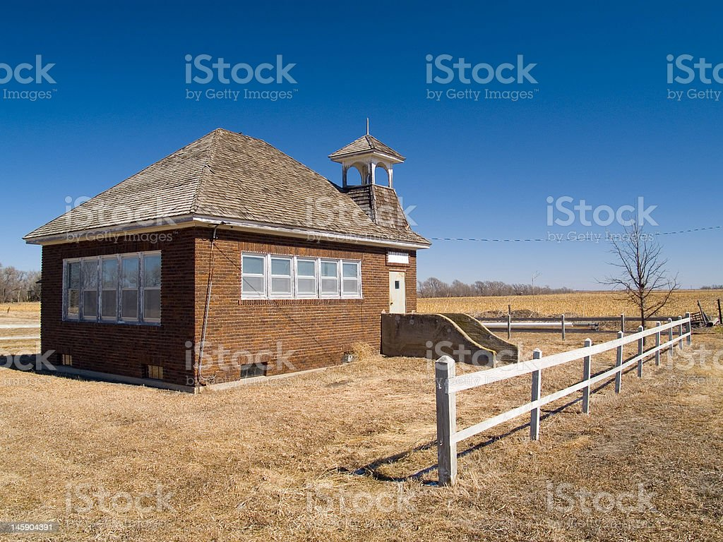 One Room School Under Blue Sky royalty-free stock photo