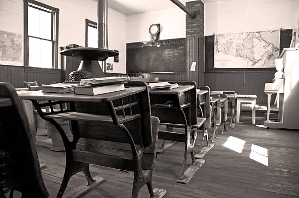 One room Shool House 1903 In sepia, a student's view towards the front of a 110 year old one room rural school. Restored 20th century stock pictures, royalty-free photos & images