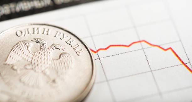 변동 그래프에 1 루블 동전입니다. 러시아 루블 (얕은 dof)의 속도 - 러시아 루블 뉴스 사진 이미지