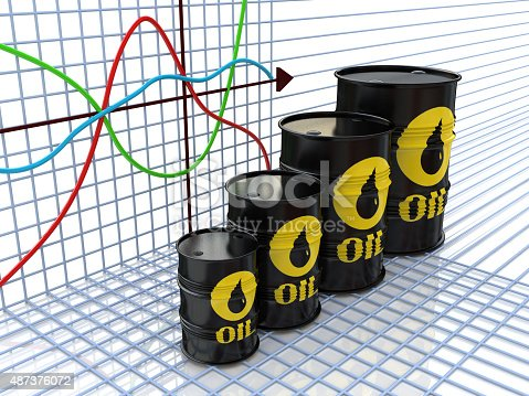 istock One row of oil barrels and financial chart on background 487376072