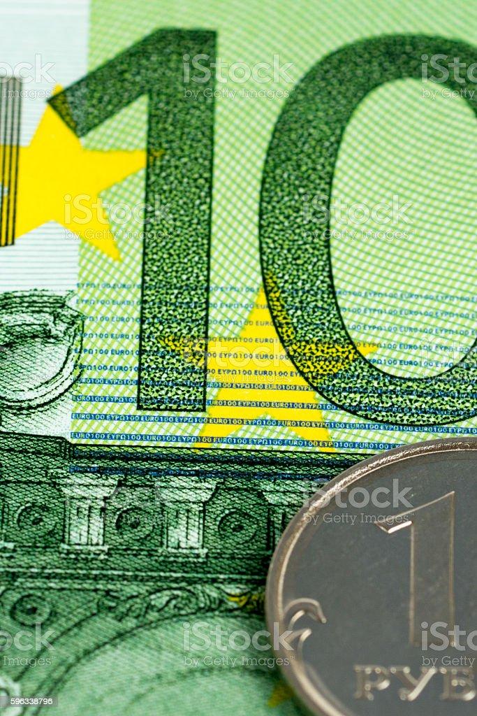 one ruble on one hundred euro Lizenzfreies stock-foto