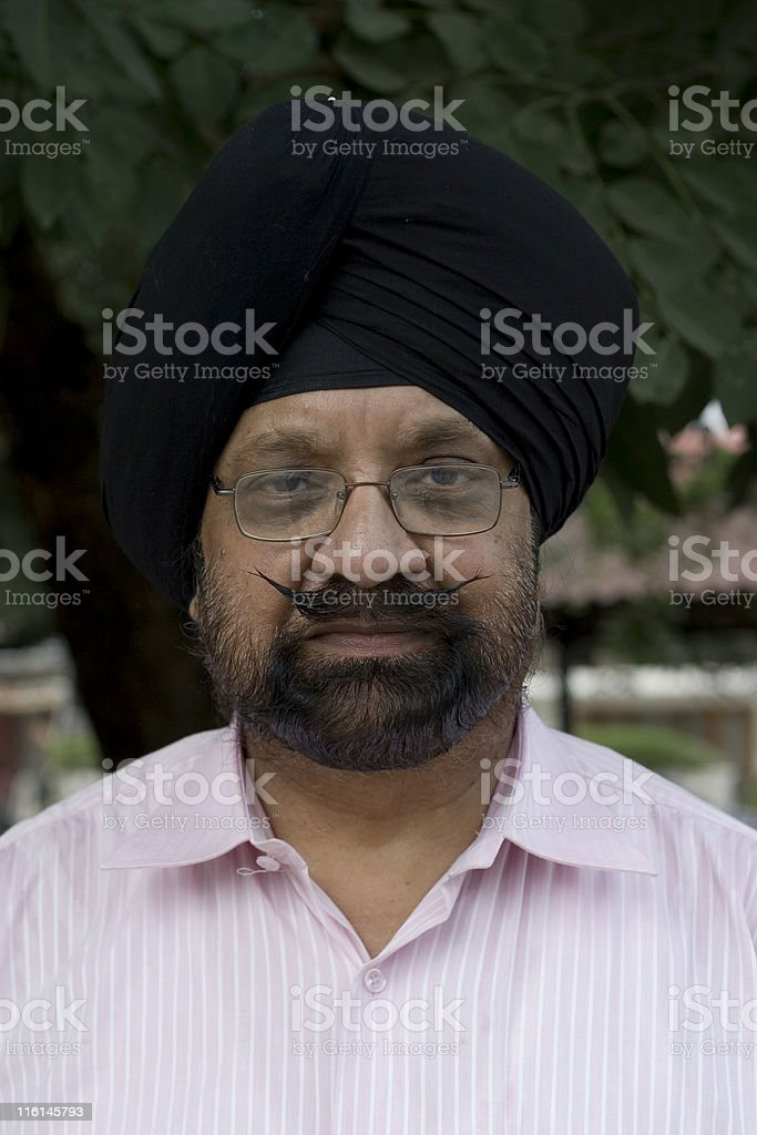 One Senior Indian Male Man citizen of Sikh Religion Turban royalty-free stock photo