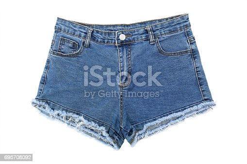 it is one short blue jeans isolated on white.
