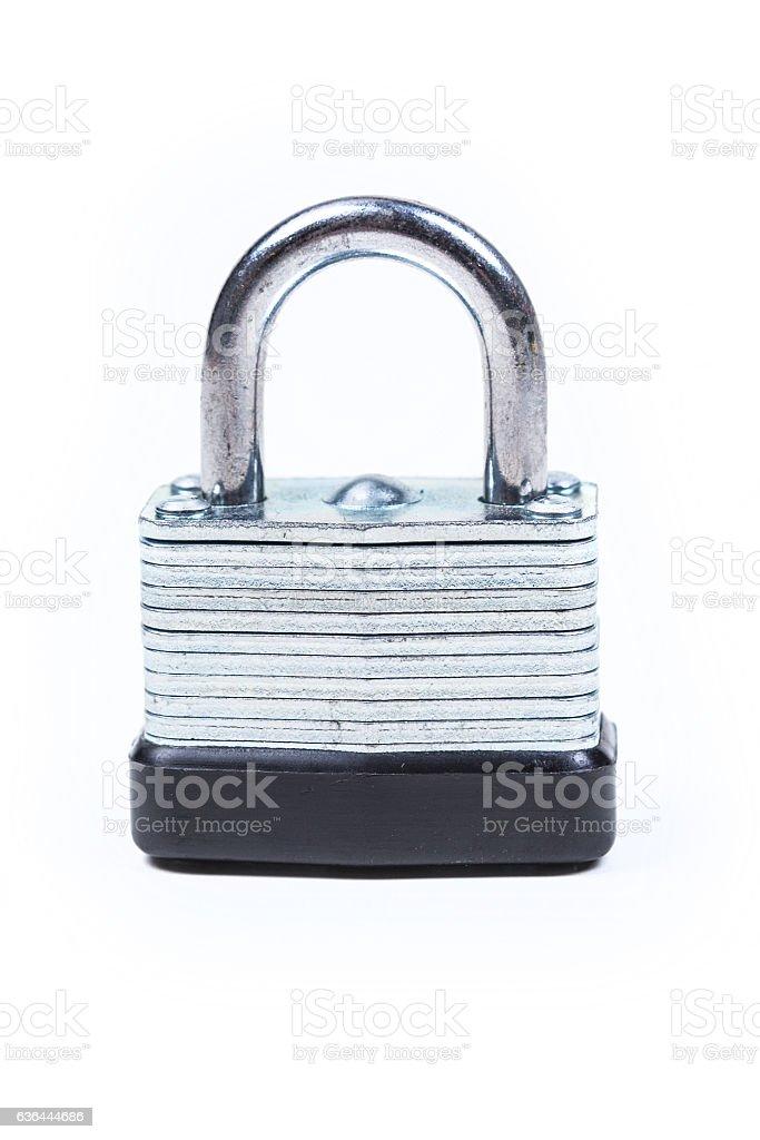 One silver padlock isolated on white background stock photo