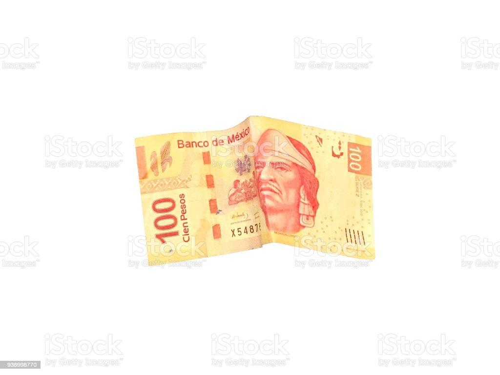 Fotografía De Una Ley 100 Solo Peso Mexicano Aislado Sobre Fondo