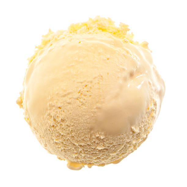 Uma única bola de sorvete de baunilha - foto de acervo