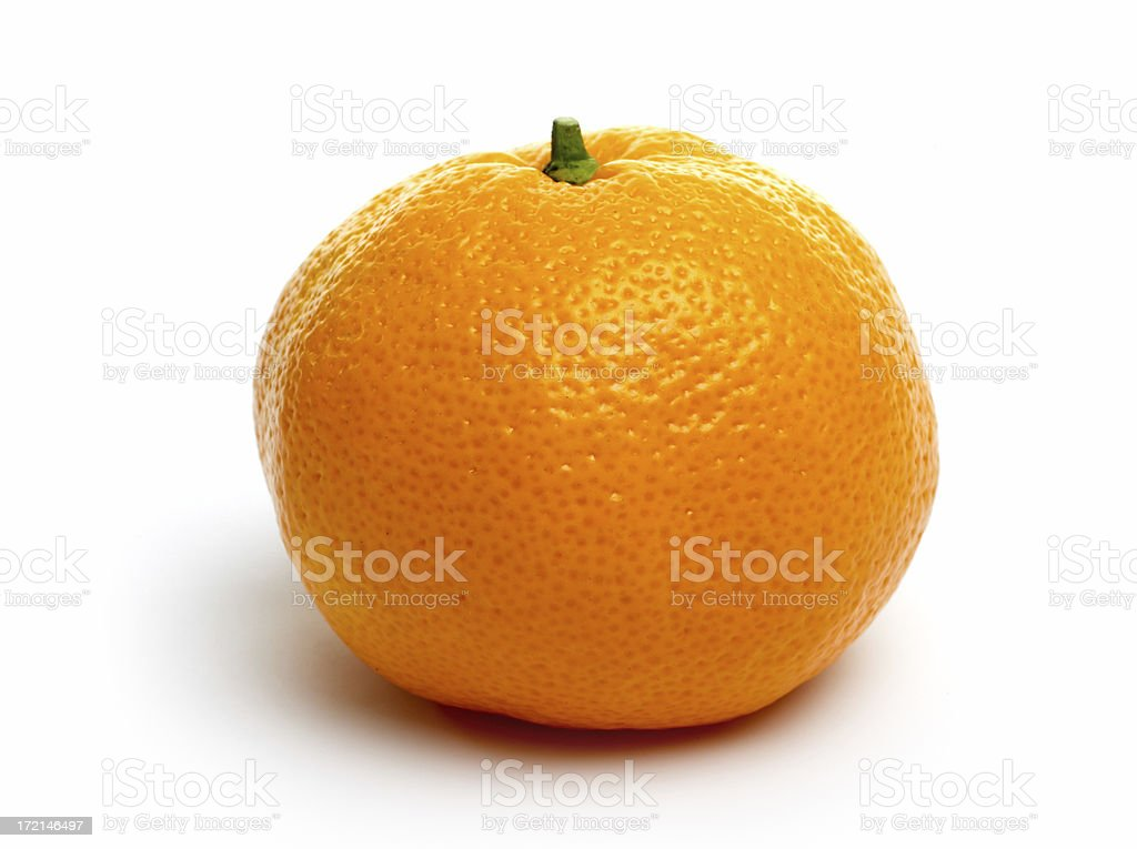 One single tangerine isolated on a white background stock photo
