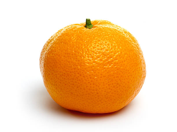 One single tangerine isolated on a white background Single Tangerine. tangerine stock pictures, royalty-free photos & images