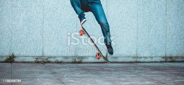 one skateboarder skateboarding at city
