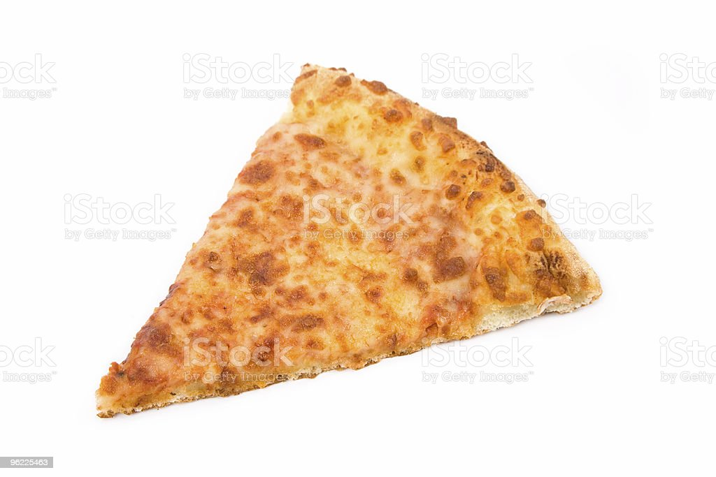 One slice of thin crust cheese pizza royalty-free stock photo