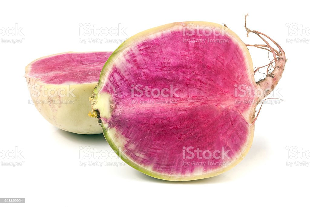one sliced watermelon radish isolated on white background stock photo