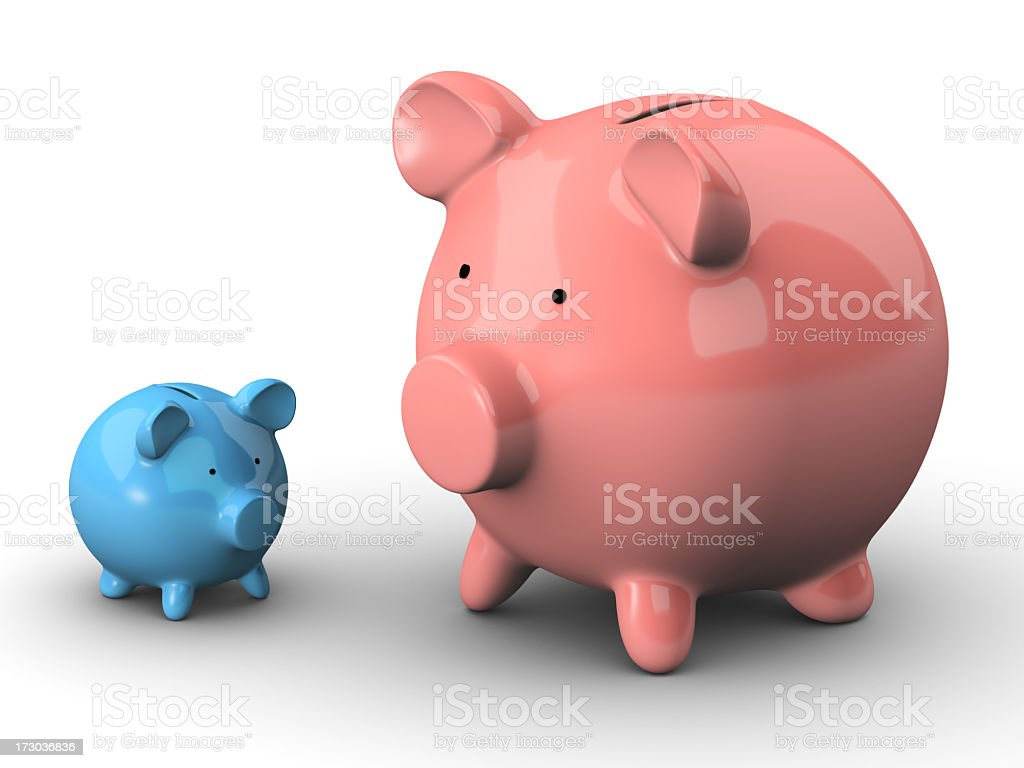 One small blue and one large pink piggy bank stock photo