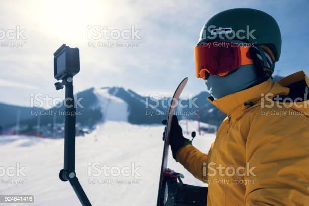 One snowboarder use action camera taking selfie on winter ski resort picture id924841416?b=1&k=6&m=924841416&s=612x612&h=sukr1g gyzoba7mtqy lrug y7tb u6glv29nxmbwwu=
