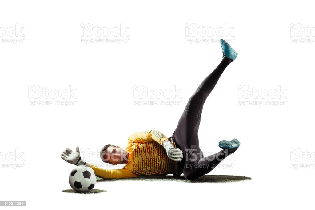 one soccer player goalkeeper man catching ball in silhouette isolated white background stock photo